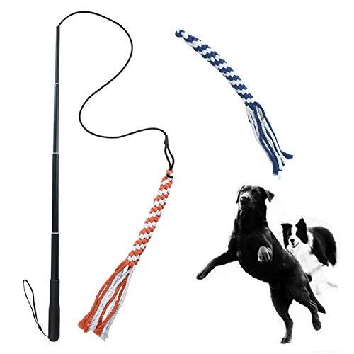 Alsanda Hundespielzeug ausziehbare Reizangel für kleine und große Hunde Welpen Katzen Kauspielzeug Seil...