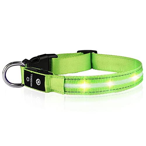MASBRILL LED Leuchthalsband für Hunde Aufladbar Hundehalsband Leuchtend 100% Wasserdicht 3 Blinkende...