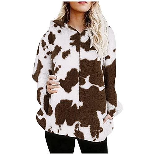MOKBAY Damen Hoodie Pullover Casual Kuh Print Reißverschluss Langarm Plus Dicker Hoodie Plüschmantel...