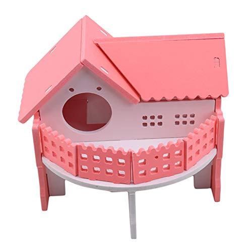 DAIHUI Doppelschicht Balkon Holz Hamster Schlafnest Pet Small Animal House