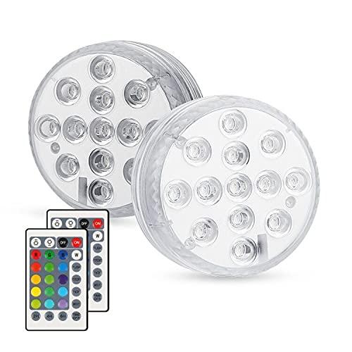 Zorara Unterwasser LED 2 Stück Unterwasser Licht mit IR Fernbedienung Poolbeleuchtung 13 LEDs IP68...