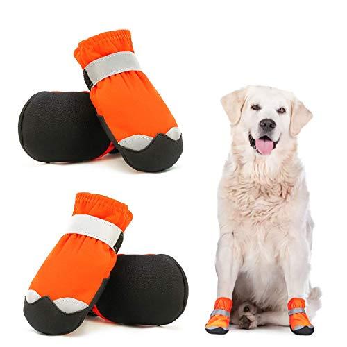 Dociote wasserdichte Hundeschuhe pfotenschutz mit Anti-Rutsch Sohle, reflektierendem Riemen,...