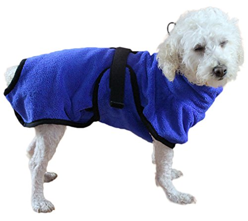 Hundebademantel Mikrofaser Hundemantel Doggy Dry hund Trockenmantel mit verstellbaren Trägern- Gr. S,...