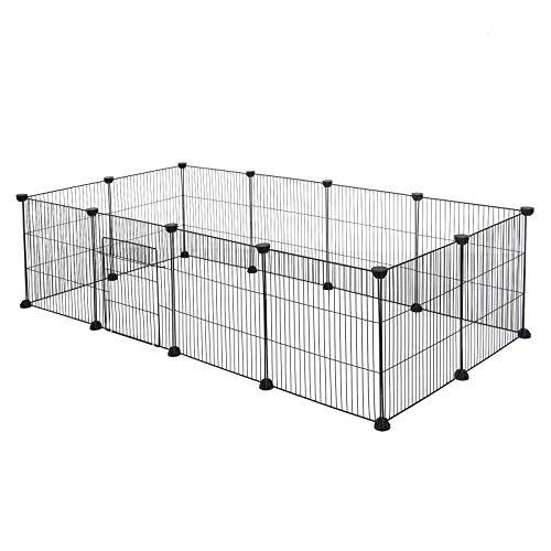 EUGAD Freigehege für Kaninchen Hasen Meerschweinchen Welpenauslauf Kleintiergehege Laufgitter mit Tür...