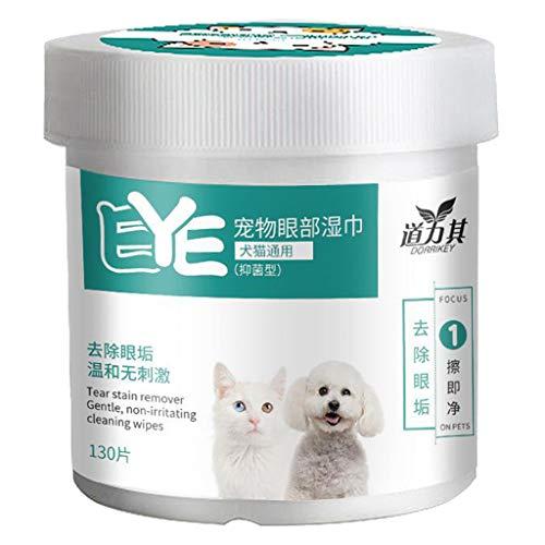 Fenteer Augen-Reinigungspads, 130PCS Haustier-Augen-Tücher, Milde Augen-Reinigung ohne zu Reizen,...