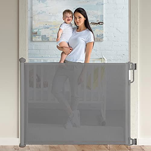 Momcozy Treppenschutzgitter Ausziehbare für Babys und Haustiere, 0-140 cm, 83 cm Hoch Baby Absperrgitter...