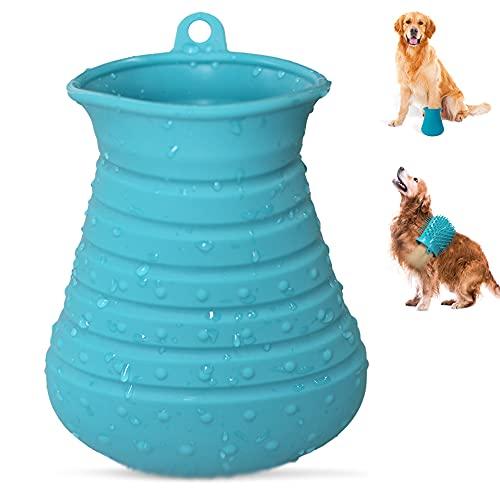 Cebese Haustier Pfoten Reiniger, 2 in 1 Tragbare Hunde Pfotenreiniger Tasse Silikon Reinigungsbürste...