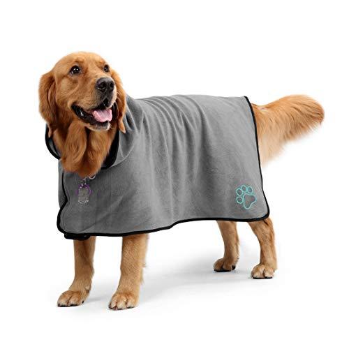 Aoweika Hundebademantel Handtuch mit verstellbarem Riemen, Schnell Trocknendes, Superabsorbierendes...