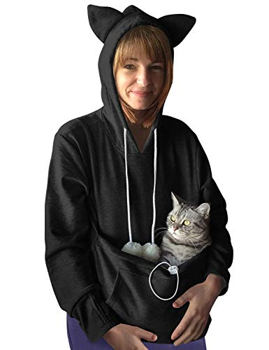 Dresswel Damen Kapuzenpullover Pulli mit Hundetasche Katzen Hund Tasche Hoodie Katze Sweatshirt Pullover...