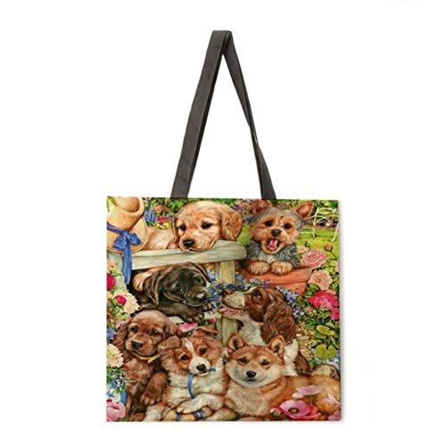 keke Katze und Hund Leinen Einkaufstasche Wiederverwendbare Handtasche Damen Schulter Stoff Tasche...