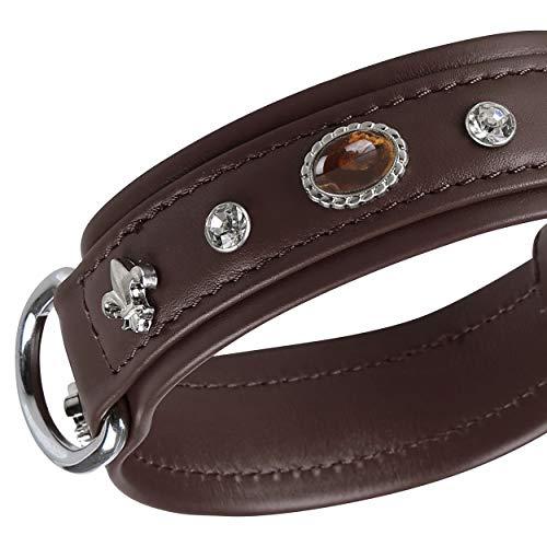 MICHUR Mateo Hundehalsband Leder, Lederhalsband Hund, Halsband, Braun, Leder, mit Lilien, Strasssteinen...