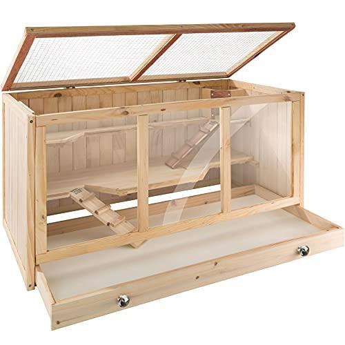TecTake 403230 Nagerkäfig aus Holz mit Häuschen, Bewegungsfreiheit durch mehrere Etagen, aufklappbares...