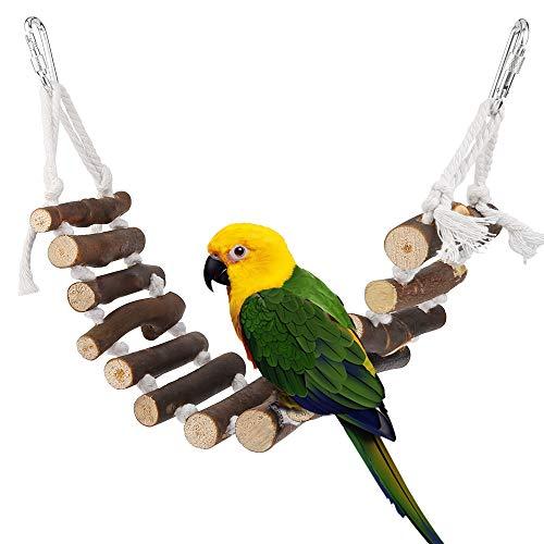 Vegena Vogelspielzeug, Vögel Holzleiter Spielzeug mit Landeplatz Vogelkäfig Zubehör für Wellensittich...