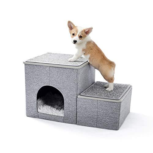 Amazon Brand – Umi Faltbare Haustiertreppe 2 Stufen für Hunde Katzen Multifunktionale Hundetreppe für...