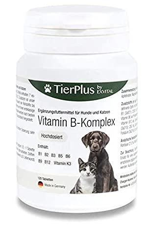 EXVital Tierplus Vitamin B Komplex für Hunde & Katzen- B1, B2, B3, B5, B6, B9, B12, K3, 120 Tabletten,...