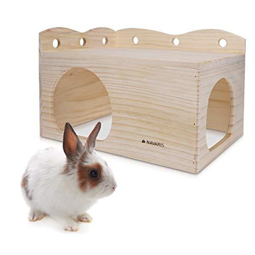 Navaris Kaninchenhaus Hasenhaus Nagerhaus für Kleintiere - Haus für Zwerg Kaninchen Hasen...