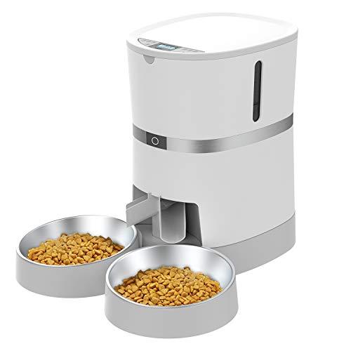 WellToBe Futterautomat für 2 Haustiere Katze und Hund, Automatischer Futterspender für Katze und Hund,...