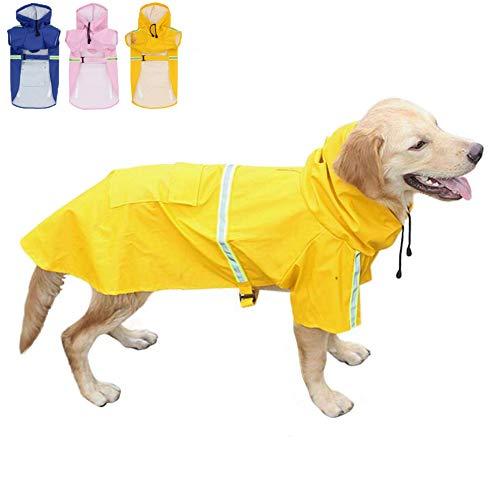FeiLuo Hunde Regenmantel mit Hoodie, Reflektierend, Wasserdicht, Winddicht, Leicht, Sicherer Hundemantel...