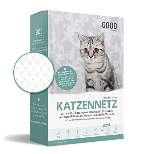 Good-to-have Katzennetz für Balkon und Fenster | 8x3m transparent | Balkonnetz inkl. extra Schutz,...