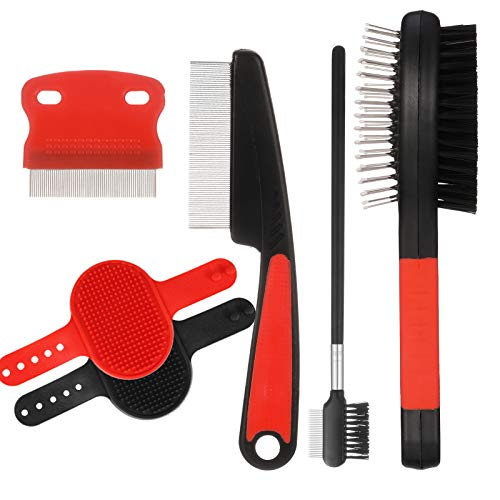 Heyu-Lotus 6er-Pack Hunde-Pflege-Set, doppelseitige Fellpflegebürste, Nadel und Flohkamm,...