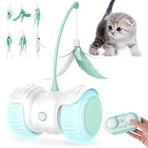 YIEZI Interaktives Elektrischer Katzenspielzeug Ball,mit Federn,mit LED-Licht Spielzeug Für Kätzchen...