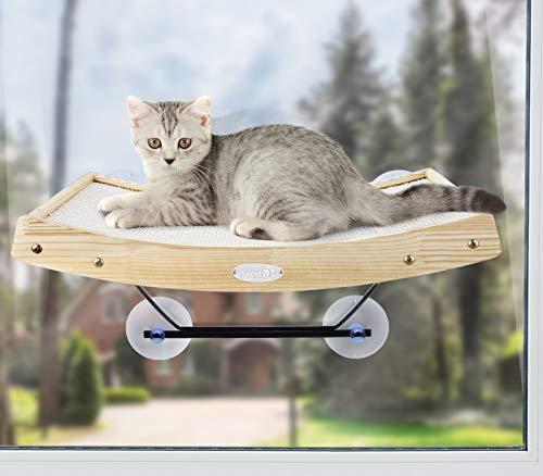Pecute Katzen Fensterplätze (42 * 30 * 6.5cm), Katzen Hängematte Sisal mit 2 in 1 Katzen Kratzbaum,...