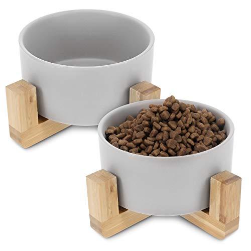 Navaris 2X Futternapf Katze mit Bambus Halter - Futterstation 2X Keramiknapf für Katzen Hunde - Keramik...