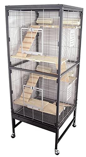 PETGARD Kleintierkäfig, großes XXL Nagervoliere auch für Ratten und Chinchilla, Gehege auf Rollen mit...
