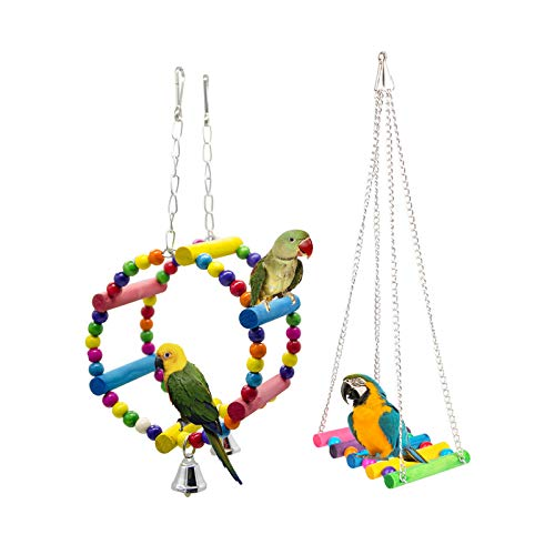 Gwotfy Papagei Spielzeug, 2 Stück Bunten Vogelspielzeug, Vögel Spielzeug Vogel Papagei Schaukel...