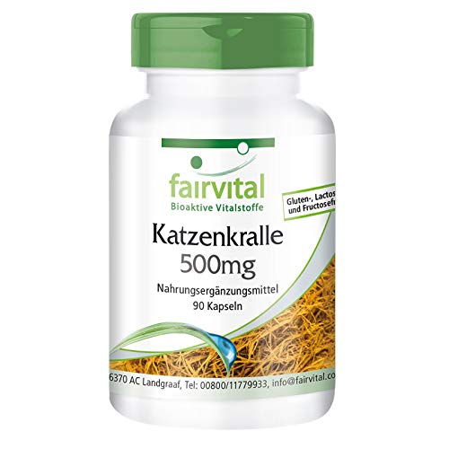 Katzenkralle Kapseln - Cat's Claw 500mg - Uña de Gato (Uncaria tomentosa) - HOCHDOSIERT & Vegan - 90...