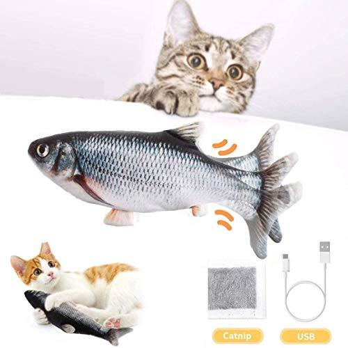 BTkviseQat Katzenspielzeug Elektrische Fische Katzenspielzeug mit Katzenminze, Simulation Elektrisch...