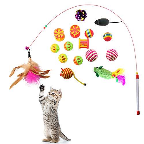Katzen Spielzeug 16 Stück Katzenspielzeug Set Spielzeugmäuse für Katzen Bälle Mäuse Spielzeug Katze...