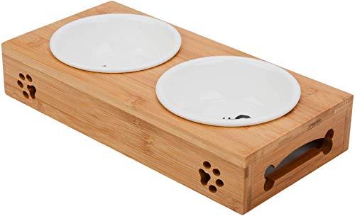 Katze Napf-Set, Anti-Rutsch Katzennäpfe Keramik Set mit Bambus Ständer Haustier-Zufuhr Bambus Stent...