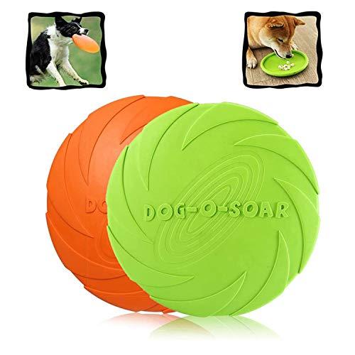 WELLXUNK Hunde Frisbees,Hund Scheibe, 2 Stück hundespielzeug Frisbee,Gummi Frisbee,für Land und...
