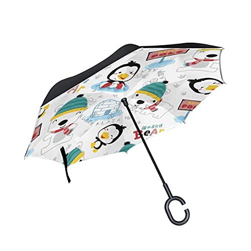 Taschenschirme Eisbär Cartoon Pinguin Hund Invertierter Regenschirm UV-Schutz Winddichter Umbrella...