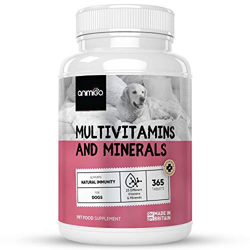 Animigo Multi Vitamine für Hunde - 23 Vitamine & Mineralstoffe - 365 Tabletten mit Vitamin B Komplex,...