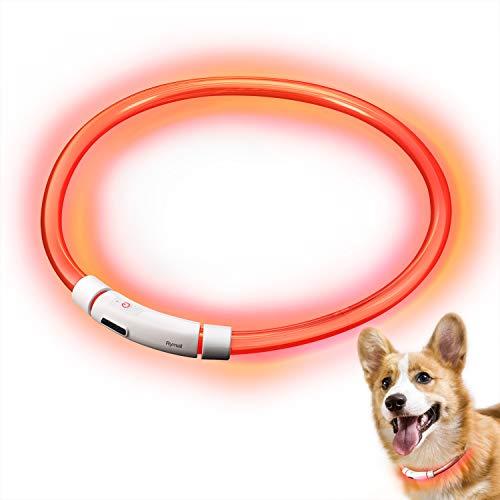 RYMALL Hunde Leuchthalsband LED, Hundehalsband Leuchtband Leuchtschlauch Blink Hundehalsband 60cm, Aden...