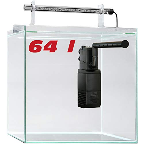 sera 32367 Scaper Cube 64 l Startset modernes Nano Glas Aquarium mit LED-Beleuchtung und Filter
