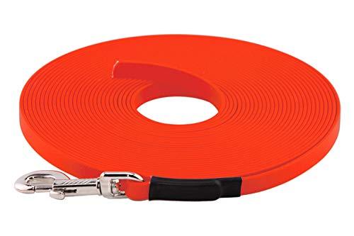 LENNIE BioThane Schleppleine, 5m, Neon-Orange, 16mm für große Hunde, genäht