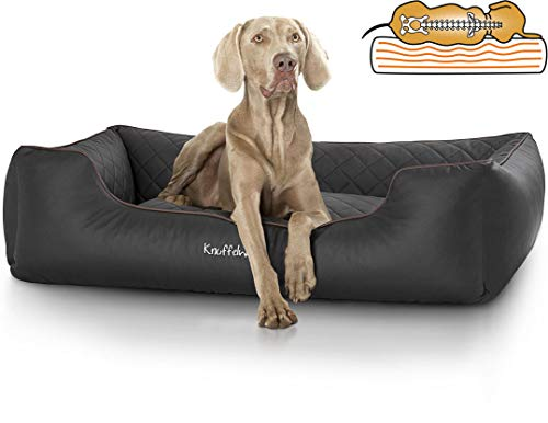 Knuffelwuff Orthopädisches Hundebett Madison aus Laser gestepptem Kunstleder waschbar Hunde ortho bed...