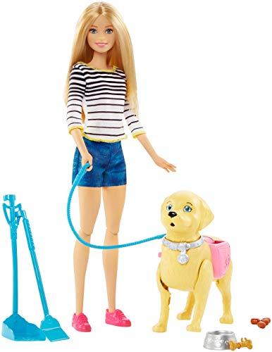 Barbie DWJ68 - Hundespaziergang Puppen Spielset, mit Puppe und stubenreines Hündchen, Mädchen Spielzeug...