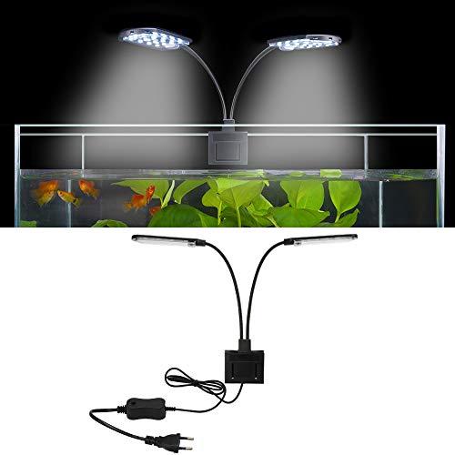 SENZEAL X7 LED Aquarium Beleuchtung Zwillinge Aquarium Lampe Zwei Köpfe LED Licht 220V 15W 1600LM für 8...
