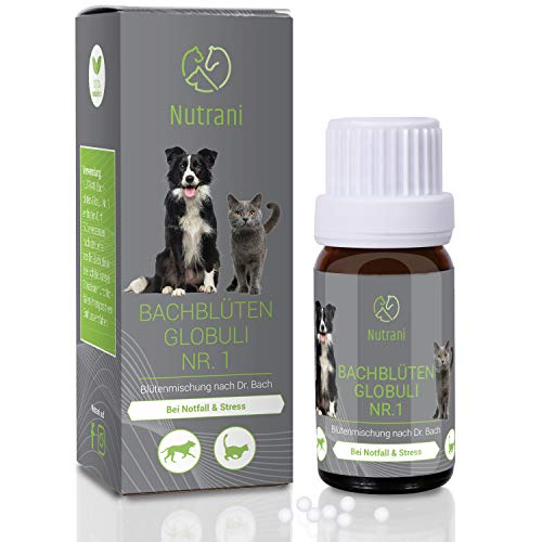 Nutrani Bachblüten Globuli Nr. 1 für Hunde und Katzen | Unterstützung bei Notfall, Stress und Angst...