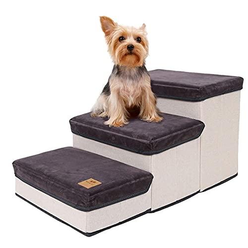 Haustiertreppe,Katzentreppe Faltbar,3-Stufen-Aufbewahrungsstil Hundetreppe Pet Stair,Hunderampe Tragbar...