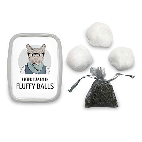 Katzenball-Set mit 3 weichen Plüsch-Bällchen und Katzenminze. Tolles Ball Spielzeug