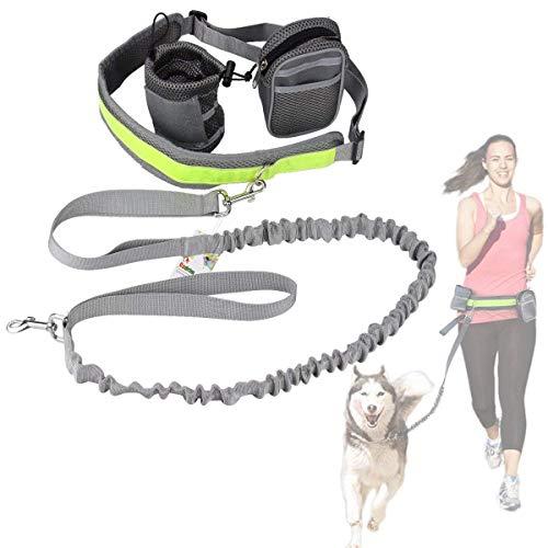 Cadrim Hunde Joggingleine mit verstellbarem Hüftgurt Bungee Leine zum handfreien Laufen/Fahrrad Fahren...
