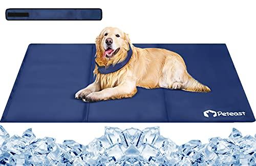 Peteast Kühlmatte für Hunde und Katzen, 90cm × 60cm Haustier-kühlmatte mit Kühlkragen, Hund...
