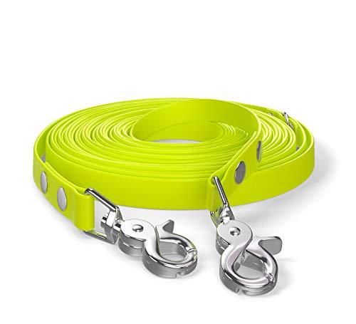 SNOOT 10m Schleppleine, Hundeleine, 2 Karabiner & D-Ring, Neon-Gelb, sehr stabil, schmutz- und...