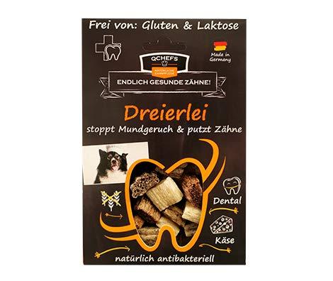 Qchefs Dreierlei |Hunde Zahnpflege-Snack| Zahnsteinentferner| Hundeleckerli- kleine & große &...