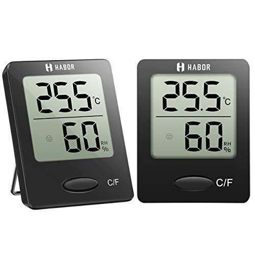 Habor 2 Stück Hygrometer Innen, Digital Thermometer Innen, Tragbares Hydrometer Feuchtigkeit mit Hohen...